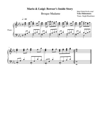 Thumbnail of first page of Broque Madame piano sheet music PDF by Mario & Luigi: Bowser's Inside Story.
