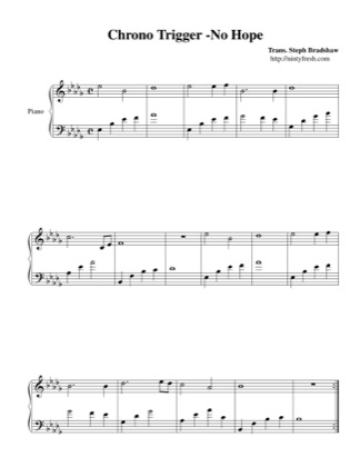 Thumbnail of first page of No Hope piano sheet music PDF by Chrono Trigger.
