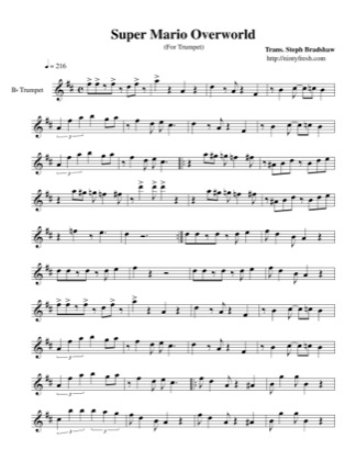 Thumbnail of first page of Overworld piano sheet music PDF by Super Mario World.