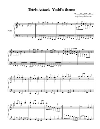Thumbnail of first page of Yoshi's Theme piano sheet music PDF by Tetris Attack.