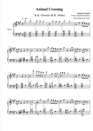Thumbnail of first page of K.K. Chorale (K.K. Slider) piano sheet music PDF by Animal Crossing.