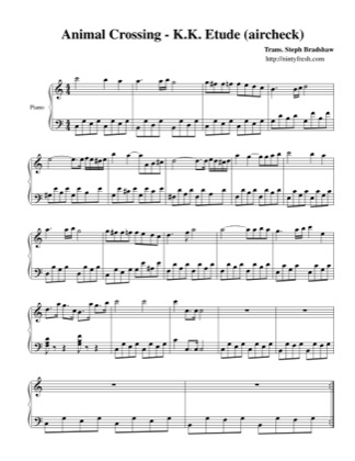 Thumbnail of first page of K.K. Etude (aircheck) piano sheet music PDF by Animal Crossing.