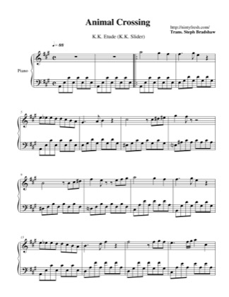 Thumbnail of first page of K.K. Etude (K.K. Slider) piano sheet music PDF by Animal Crossing.