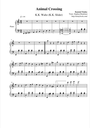 Thumbnail of first page of K.K. Waltz (K.K. Slider) piano sheet music PDF by Animal Crossing.