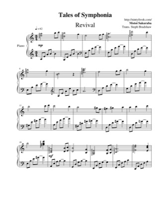 Thumbnail of first page of Revival piano sheet music PDF by Tales of Symphonia.