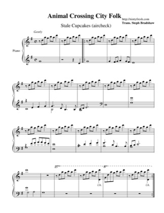 Thumbnail of first page of Stale Cupcakes (aircheck) piano sheet music PDF by Animal Crossing: City Folk.