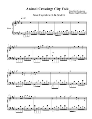 Thumbnail of first page of Stale Cupcakes (K.K. Slider) piano sheet music PDF by Animal Crossing: City Folk.