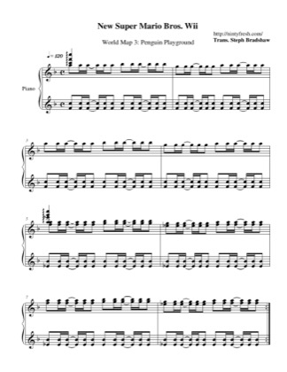 Thumbnail of first page of Overworld 3: Penguin Playground piano sheet music PDF by New Super Mario Bros. Wii.