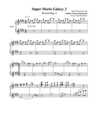 World Map 3 Super Mario Galaxy 2 Free Piano Sheet Music Pdf