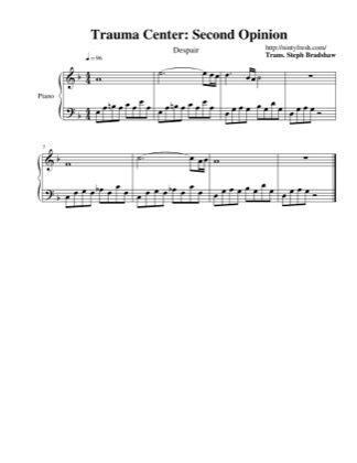 Thumbnail of first page of Despair piano sheet music PDF by Trauma Center: Second Opinion.