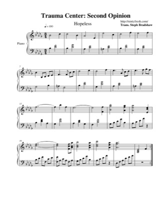 Thumbnail of first page of Hopeless piano sheet music PDF by Trauma Center: Second Opinion.