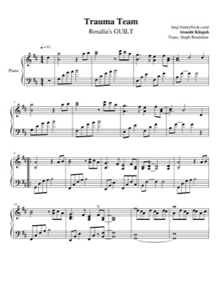 Thumbnail of first page of Rosalia's GUILT piano sheet music PDF by Trauma Team.
