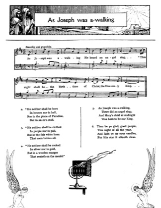 Thumbnail of first page of As Joseph was Awalking piano sheet music PDF by Christmas.