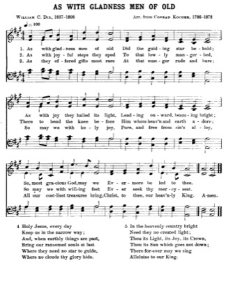Thumbnail of first page of As with Gladness Men of Old (2) piano sheet music PDF by Christmas.