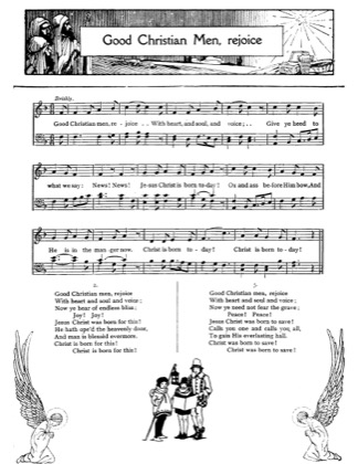 Thumbnail of first page of Good Christian Men Rejoice piano sheet music PDF by Christmas.