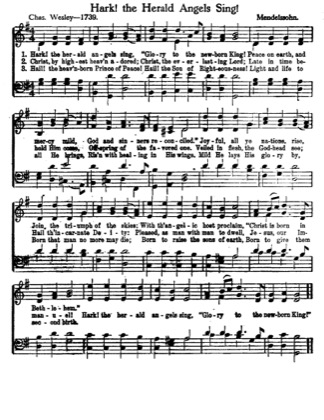 Thumbnail of first page of Hark the Herald Angels Sing (2nd version) piano sheet music PDF by Christmas.