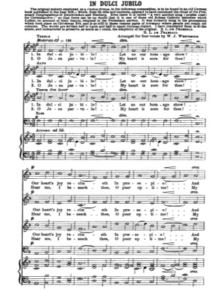Thumbnail of first page of In Dulci Jubilo piano sheet music PDF by Christmas.