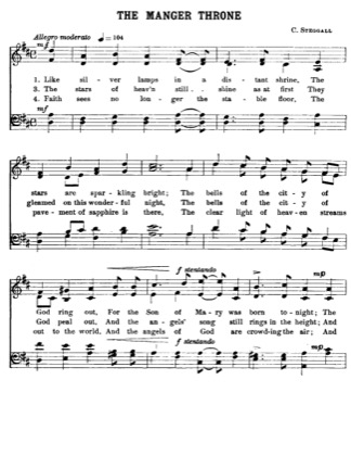 Thumbnail of first page of The Manger Throne piano sheet music PDF by Christmas.