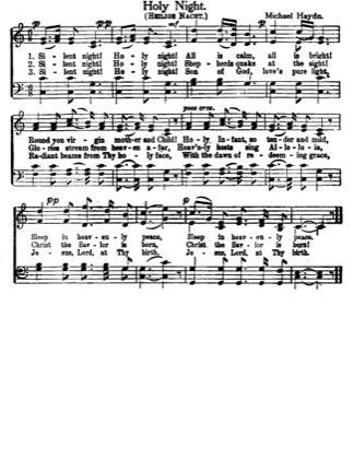 Thumbnail of first page of Silent Night (2nd version) piano sheet music PDF by Christmas.