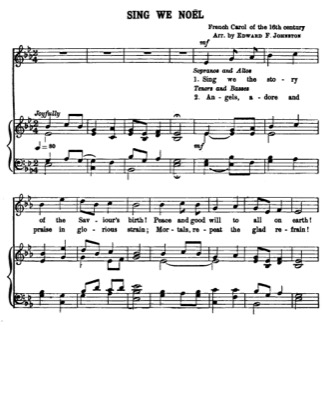 Thumbnail of first page of Sing We Noel piano sheet music PDF by Christmas.