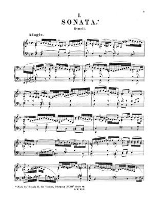 Thumbnail of first page of Sonata in D minor, BWV 964 piano sheet music PDF by Bach.
