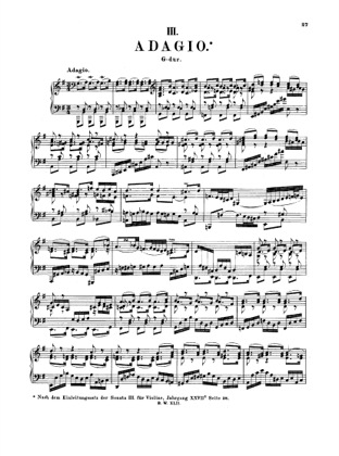 Thumbnail of first page of Adagio in G major, BWV 968 piano sheet music PDF by Bach.