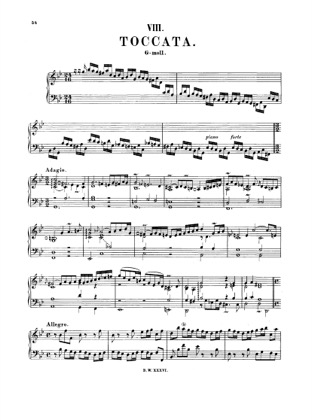 Thumbnail of first page of Toccata in G minor, BWV 915 piano sheet music PDF by Bach.