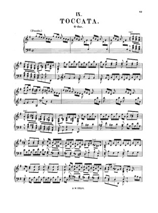 Thumbnail of first page of Toccata in G major, BWV 916 piano sheet music PDF by Bach.