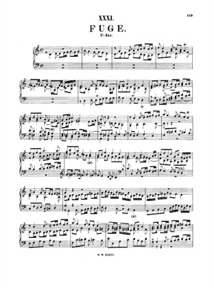 Thumbnail of first page of Fugue in C major, BWV 946 piano sheet music PDF by Bach.