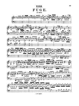 Thumbnail of first page of Fugue in A minor, BWV 947 piano sheet music PDF by Bach.