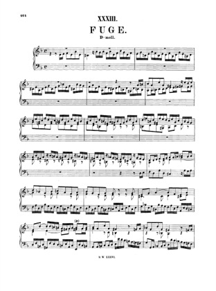 Thumbnail of first page of Fugue in D minor, BWV 948 piano sheet music PDF by Bach.