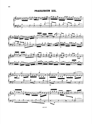 Thumbnail of first page of Prelude and Fugue No.19 A major, BWV 864 piano sheet music PDF by Bach.