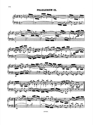 Thumbnail of first page of Prelude and Fugue No.9 E major, BWV 878 piano sheet music PDF by Bach.