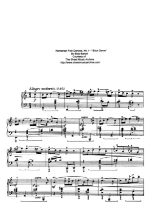 Thumbnail of first page of Stick Game, Sz.56 piano sheet music PDF by Bartok.