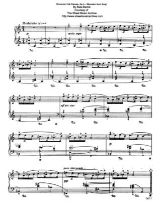 Thumbnail of first page of Mountain Horn Song, Sz.56 piano sheet music PDF by Bartok.