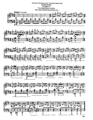 Thumbnail of first page of Romanian Garden Gate, Sz.56 piano sheet music PDF by Bartok.