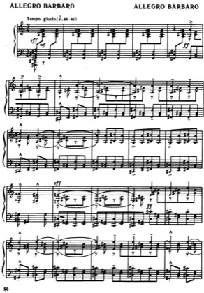 Thumbnail of first page of Allegro Barbaro Sz.49 piano sheet music PDF by Bartok.