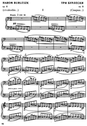 Thumbnail of first page of Burlesques, Op.8 piano sheet music PDF by Bartok.