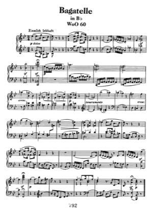Thumbnail of first page of Bagatelle in Bb WoO 60 piano sheet music PDF by Beethoven.