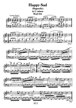Thumbnail of first page of Bagatelle in C minor WoO 54 piano sheet music PDF by Beethoven.