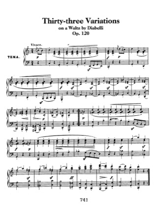 Thumbnail of first page of Diabelli Variations Op.120 piano sheet music PDF by Beethoven.