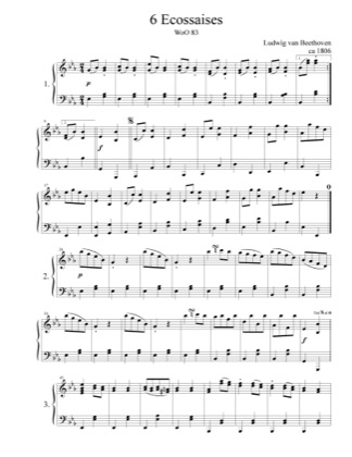 Thumbnail of first page of Ecossaises WoO 83 piano sheet music PDF by Beethoven.