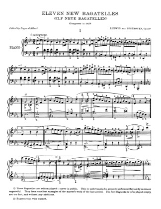 Thumbnail of first page of Eleven New Bagatelle piano sheet music PDF by Beethoven.