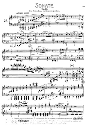 Thumbnail of first page of Sonata No.23 in F minor piano sheet music PDF by Beethoven.