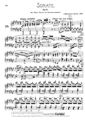 Thumbnail of first page of Sonata No.24 in F-sharp major piano sheet music PDF by Beethoven.