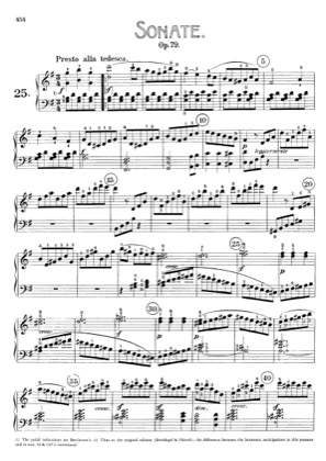 Thumbnail of first page of Sonata No.25 in G major piano sheet music PDF by Beethoven.