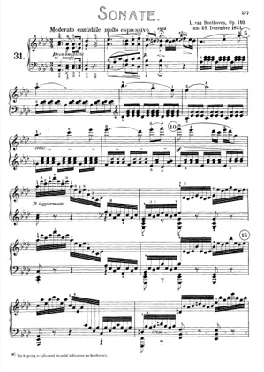 Thumbnail of first page of Sonata No.31 in A-flat major piano sheet music PDF by Beethoven.