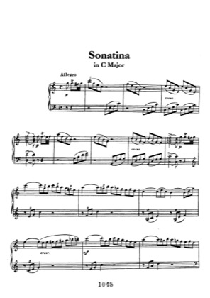 Thumbnail of first page of Sonatina in C piano sheet music PDF by Beethoven.