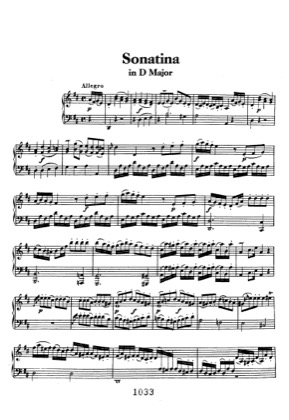 Thumbnail of first page of Sonatina in D piano sheet music PDF by Beethoven.