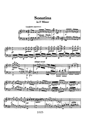 Thumbnail of first page of Sonatina in F minor piano sheet music PDF by Beethoven.